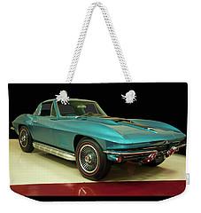 Weekender Tote Bag featuring the digital art 1967 Chevrolet Corvette 2 by Chris Flees
