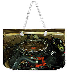 Weekender Tote Bag featuring the photograph 1967 Plymouth Belvedere Gtx 426 Hemi Motor by Chris Flees