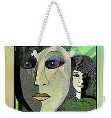 Weekender Tote Bag featuring the digital art 1968 - A Dolls Head by Irmgard Schoendorf Welch