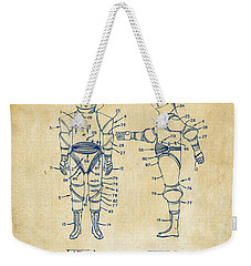 1968 Hard Space Suit Patent Artwork - Vintage Weekender Tote Bag by Nikki Marie Smith