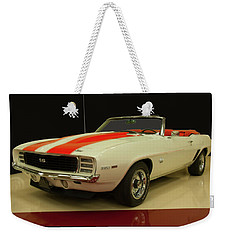 Weekender Tote Bag featuring the photograph 1969 Chevy Camaro Rs/ss Indy Pace Car by Chris Flees