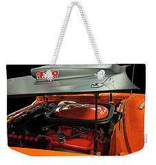 Weekender Tote Bag featuring the painting 1969 Plymouth Road Runner A12 440 6 Pack by Chris Flees