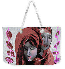 Weekender Tote Bag featuring the digital art 1971- Rosecoloured Portrait 2017 by Irmgard Schoendorf Welch