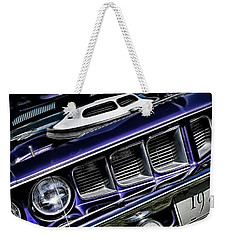 Weekender Tote Bag featuring the photograph 1971 Shaker Cuda by Brad Allen Fine Art