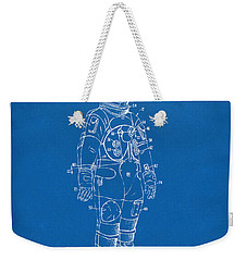 1973 Astronaut Space Suit Patent Artwork - Blueprint Weekender Tote Bag by Nikki Marie Smith