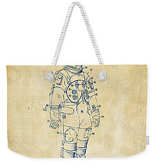 1973 Astronaut Space Suit Patent Artwork - Vintage Weekender Tote Bag by Nikki Marie Smith