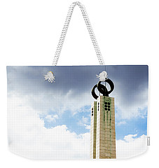 Weekender Tote Bag featuring the photograph 1974 Revolution Memorial Wrapped In Clouds by Lorraine Devon Wilke