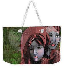 Weekender Tote Bag featuring the digital art 1974 - Women In Rosecoloured Clothes - 2017 by Irmgard Schoendorf Welch