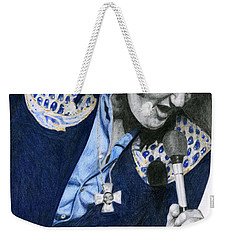 1975 Dark Blue Two Piece Suit Blue Gold Ornaments Weekender Tote Bag