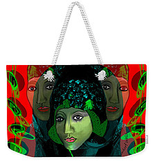 Weekender Tote Bag featuring the digital art 1975 - Mystery Woman by Irmgard Schoendorf Welch
