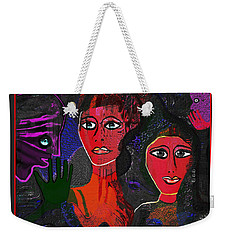 Weekender Tote Bag featuring the digital art 1977 - Faces Red by Irmgard Schoendorf Welch