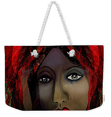 Weekender Tote Bag featuring the digital art 1980 -  Leading Into Temptation 2017 by Irmgard Schoendorf Welch