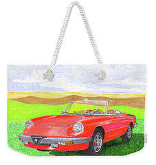 Weekender Tote Bag featuring the painting 1983 Alfa Romero Spider Veloce by Jack Pumphrey