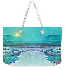 Weekender Tote Bag featuring the digital art 1983 - Blue Waterland -  2017 by Irmgard Schoendorf Welch