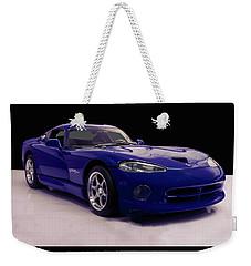 Weekender Tote Bag featuring the digital art 1997 Dodge Viper Gts Blue by Chris Flees