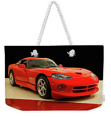 Weekender Tote Bag featuring the digital art 1997 Dodge Viper Gts Red by Chris Flees