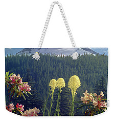 1m5101 Flowers And Mt. Hood Weekender Tote Bag