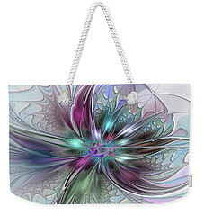 Colorful Fantasy Abstract Modern Fractal Flower Weekender Tote Bag