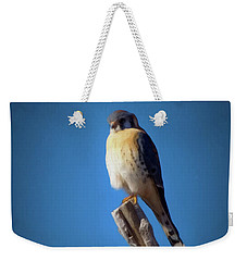 Weekender Tote Bag featuring the digital art American Kestrel by Ernie Echols
