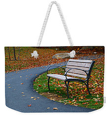 Weekender Tote Bag featuring the photograph Bench On The Walk by Rick Morgan