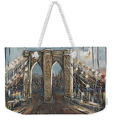 Weekender Tote Bag featuring the painting Brooklyn Bridge by Miroslaw  Chelchowski