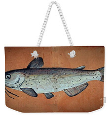 Weekender Tote Bag featuring the drawing Catfish by Andrew Drozdowicz