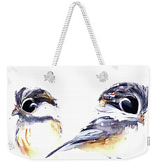 Weekender Tote Bag featuring the painting 2 Chickadees by Dawn Derman