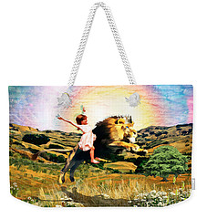 Weekender Tote Bag featuring the digital art Child Like Faith by Dolores Develde
