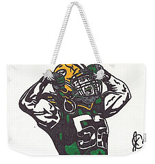 Weekender Tote Bag featuring the drawing Clay Matthews 2 by Jeremiah Colley