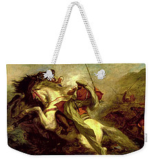 Weekender Tote Bag featuring the painting Collision Of Moorish Horsemen by Eugene Delacroix