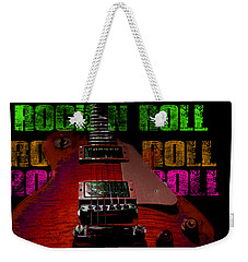 Weekender Tote Bag featuring the photograph Colorful Music Rock N Roll Guitar Retro Distressed by Guitar Wacky