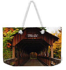 Weekender Tote Bag featuring the photograph Covered Bridge At Allegany State Park by Rose Santuci-Sofranko
