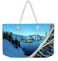 Crater Lake Winterscape Weekender Tote Bag by Nick Boren