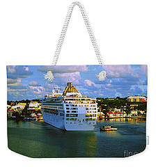 Cruise Ship In Port Weekender Tote Bag by Gary Wonning