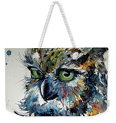 Weekender Tote Bag featuring the painting Cute Owl by Kovacs Anna Brigitta