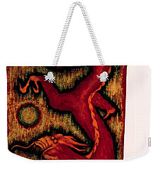 Weekender Tote Bag featuring the painting Dragon by Fei A