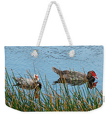 Weekender Tote Bag featuring the photograph 2- Ducks by Joseph Keane