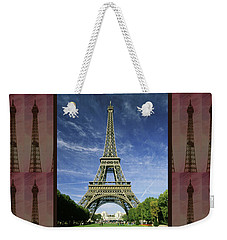 Weekender Tote Bag featuring the photograph Effel Tower Paris France Landmark Photography Towels Pillows Curtains Tote Bags by Navin Joshi