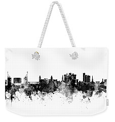 Weekender Tote Bag featuring the digital art Fayetteville Arkansas Skyline by Michael Tompsett