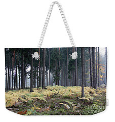 Fog In The Forest With Ferns Weekender Tote Bag by Michal Boubin