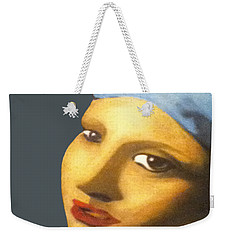 Weekender Tote Bag featuring the painting Girl With Pearl Earring Face by Jayvon Thomas