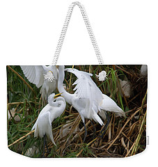 Great Egret Feeding Their Young - Digitalart Weekender Tote Bag