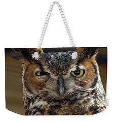Weekender Tote Bag featuring the photograph Great Horned Owl by John Black