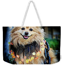 Halloween Dog Weekender Tote Bag by Charline Xia