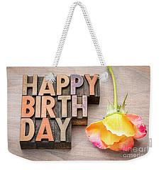 Happy Birthday Greetings Card In Wood Type Weekender Tote Bag