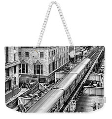 Historic Chicago El Train Black And White Weekender Tote Bag