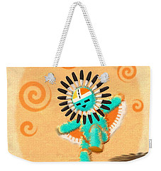 Weekender Tote Bag featuring the digital art Hopi Sun Face Kachina by John Wills