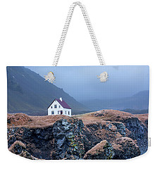 House On Ocean Cliff In Iceland Weekender Tote Bag