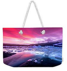 Icebergs In Jokulsarlon Glacial Lagoon Weekender Tote Bag by Joe Belanger
