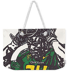 Weekender Tote Bag featuring the drawing Kenjon Barner 1 by Jeremiah Colley